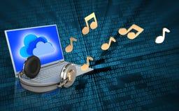 ordinateur portable et écouteurs du blanc 3d Photos libres de droits