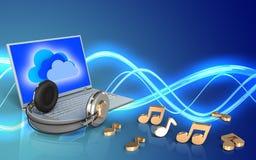 ordinateur portable et écouteurs du blanc 3d illustration libre de droits