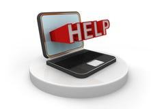 Ordinateur portable et aide Photographie stock