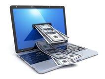 Ordinateur portable et argent abstrait Photo libre de droits