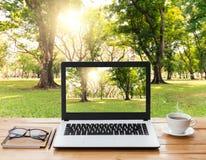 Ordinateur portable et café sur l'espace de travail et le fond en bois de parc Images stock