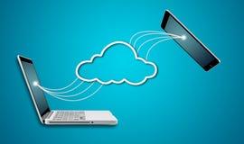 Ordinateur portable et comprimé d'ordinateur avec le concept de réseau de nuage Photographie stock