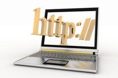 Ordinateur portable et mot de HTTP Images libres de droits