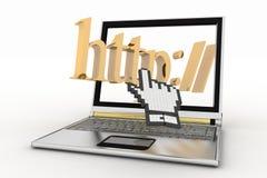 Ordinateur portable et mot de HTTP avec le curseur de main Images libres de droits