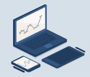 Ordinateur portable et tablettes pour le travail Image stock