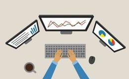 Ordinateur portable fonctionnant de graphique de gestion Analyse des marchés commerce illustration stock