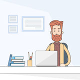 Ordinateur portable fonctionnant se reposant occasionnel de bureau d'homme d'affaires illustration de vecteur