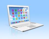Ordinateur portable - interface d'icônes d'apps illustration de vecteur