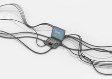Ordinateur portable minuscule de câble Photos libres de droits