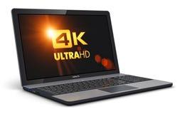 Ordinateur portable moderne avec la résolution d'écran de 4K UltraHD illustration de vecteur