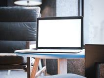 Ordinateur portable moderne sur la petite table basse rendu 3d illustration de vecteur