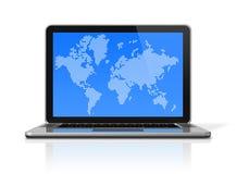 Ordinateur portable noir avec le worldmap sur l'écran Photographie stock libre de droits