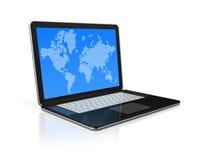 Ordinateur portable noir avec le worldmap sur l'écran Photos stock