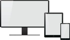 Ordinateur portable, PC de comprimé, téléphone portable et navigateur Photos libres de droits
