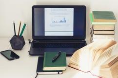 Ordinateur portable, pile de livres, manuel, usine de cactus dans le pot d'argile à l'arrière-plan d'affaires de bureau pour l'éd image stock