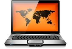 Ordinateur portable portatif d'ordinateur portatif avec la carte du monde Image stock