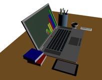 ordinateur portable pour l'investisseur courant Image libre de droits