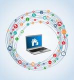 Ordinateur portable réglé d'icône d'immobiliers Photographie stock libre de droits