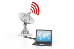 Ordinateur portable relié à l'antenne parabolique Image libre de droits