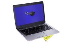 Ordinateur portable sans garantie avec le mot de passe sous le clavier Photographie stock