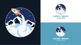Ordinateur portable simple de web design, téléphone, et calibre mobile de Rocket Logo Design, technologie Logo Design Vector Photo stock
