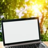 Ordinateur portable sur le fond vert de nature photos stock
