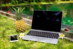 Ordinateur portable, téléphone portable et ananas dans l'emplacement exotique par la piscine photographie stock