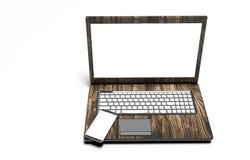 Ordinateur portable, téléphone portable - d'isolement sur le blanc avec le chemin de coupure Photographie stock