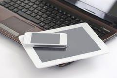 Ordinateur portable, tablette et téléphone intelligent Images libres de droits
