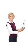 Ordinateur portatif aîné heureux de fixation Images stock