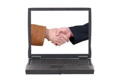 Ordinateur portatif, affaire en ligne d'affaires Image stock