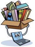 Ordinateur portatif avec des livres illustration libre de droits