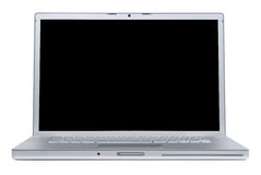 Ordinateur portatif avec l'écran blanc Photo stock