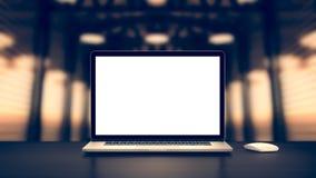 Ordinateur portatif avec l'écran blanc Photos libres de droits