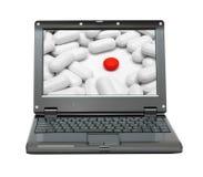 Ordinateur portatif avec le thème de la science de médecine Image libre de droits