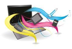 Ordinateur portatif avec les lignes circulantes et les outils du créateur illustration stock