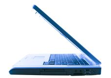 Ordinateur portatif bleu intéressant Photos libres de droits