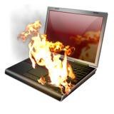 ordinateur portatif brûlant, cahier Image libre de droits
