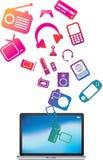 ordinateur portatif coloré d'explosion Photos stock