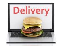 ordinateur portatif 3d Concept de la livraison de nourriture en ligne et d'Internet Photographie stock