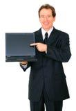 ordinateur portatif d'homme d'affaires présentant l'aîné au visualisateur Photo libre de droits