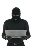 ordinateur portatif d'intrus d'escroc informatique Photo libre de droits
