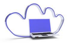 Ordinateur portatif dans la forme brillante de nuage illustration libre de droits