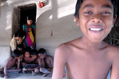 Ordinateur portatif dans le village indien Images libres de droits