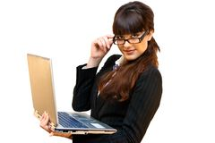 ordinateur portatif de dame d'affaires image libre de droits