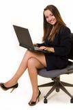 Ordinateur portatif de femme Image libre de droits