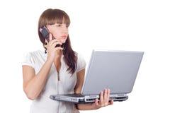 ordinateur portatif de femme d'affaires Photographie stock libre de droits