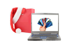 ordinateur portatif de Noël Images stock