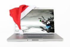 ordinateur portatif de Noël Images libres de droits