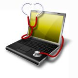 Ordinateur portatif de santé, jaune de cahier Images stock